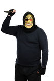 Masked bandit waving big knife. Black masked bandit waving big knife on a white background Royalty Free Stock Images