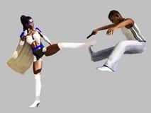 Masked black female superhero dealing with mugger. Black female superhero in white costume defeats armed mugger Royalty Free Stock Photos
