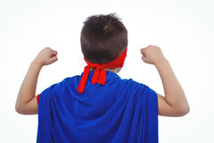Masked boy pretending to be superhero. Rear view of masked boy pretending to be superhero on white screen Royalty Free Stock Photo