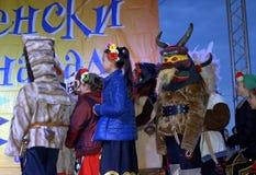 Masked children Varna Carnival scene Royalty Free Stock Image