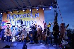 Masked children Varna Carnival scene Royalty Free Stock Images