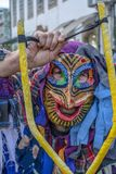 Masked. Close up view of masked man in a Carnival parade Royalty Free Stock Images