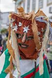 Masked. Close up view of masked man in a Carnival parade Royalty Free Stock Photography