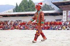 Masked clown at the Gangtey Monastery, Gangteng, Bhutan Stock Photo