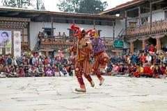 Masked clowns at the Gangtey Monastery, Gangteng, Bhutan Royalty Free Stock Photo