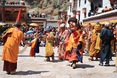 The masked dance in Hemis gompa (monastery), Ladakh, India Royalty Free Stock Photography