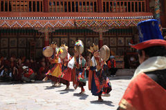 The masked dance in Hemis gompa (monastery), Ladakh, India Royalty Free Stock Images