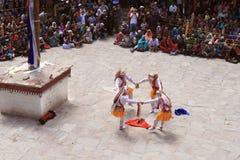 The masked dance in Hemis gompa (monastery), Ladakh, India Royalty Free Stock Photos