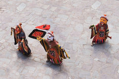 The masked dance in Hemis gompa (monastery), Ladakh, India. The Hemis Festival is dedicated to Lord Padmasambhava (Guru Rimpoche) venerated as the Dance Royalty Free Stock Image