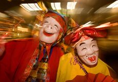 Masked dancers at a night festival in Japan Royalty Free Stock Images