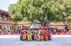 Masked dancers standing together Royalty Free Stock Image