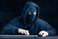 Masked dangerous cyber spy Royalty Free Stock Images