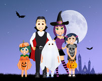Masked family to halloween Stock Images