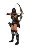 Masked female assassin archer aims bow and arrow Stock Photos