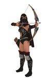 Masked female assassin archer aims bow and arrow