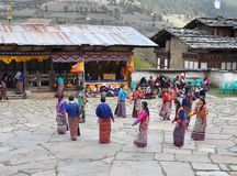 Masked Festival Dancers in Bhutan Royalty Free Stock Photos