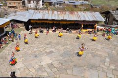 Masked Festival Dancers in Bhutan Royalty Free Stock Photography