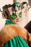 Masked girl. In San Marco's plaza, Venice, during carnival Royalty Free Stock Photography