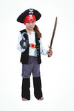Masked girl pretending to be pirate. On white screen Stock Photos