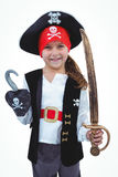 Masked girl pretending to be pirate Royalty Free Stock Images