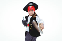 Masked girl pretending to be pirate Stock Photo