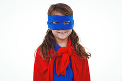 Masked girl pretending to be superhero. Smiling at the camera on white screen Stock Photos