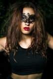 Masked lady. Beautiful Teenage Model  Royalty Free Stock Images