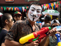 Masked Man Celebrating Songkran 2014 in Bangkok, T Royalty Free Stock Photos