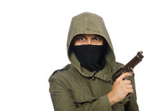 The masked man in criminal concept on white Stock Images