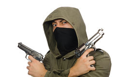 The masked man in criminal concept on white Stock Photos