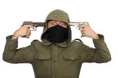 The masked man in criminal concept on white Stock Image