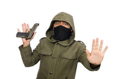 The masked man in criminal concept on white Royalty Free Stock Photos