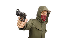 The masked man in criminal concept on white Stock Photography