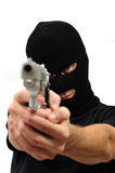 Masked man with gun Stock Photos