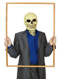 Masked man skeleton, placed himself in frame Stock Photos