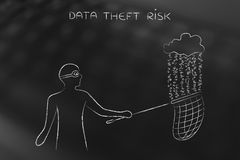 Masked man stealing files from a cloud with binary code rain, da Stock Images