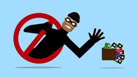 Masked man, theif want take money and credit card. Internet security. Vector illustration royalty free illustration