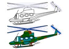 Masked Military Helicopter - Coloring Book Royalty Free Stock Photo