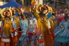 Masked Morenada dancer at the Arica Carnival Stock Images