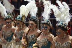 Masked Morenada dancers at the Oruro Carnival in Bolivia Stock Photo