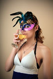 Masked party girl Royalty Free Stock Photography