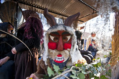 Masked people on a carnival car at the 'Busojaras', the carnival of winter's funeral. MOHACS, HUNGARY - FEBRUARY 15.: Masked people on a carnival car at the ' Stock Photos