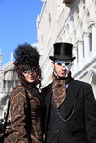 Masked performers at Venice carnival Stock Images