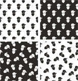Masked Person, Activist, Sports Fan, Modern Gangster Aligned & Random Seamless Pattern Set. This image is a illustration and can be scaled to any size without Royalty Free Stock Photography