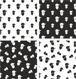 Masked Person, Activist, Sports Fan, Modern Gangster Big & Small Aligned & Random Seamless Pattern Set. This image is a illustration and can be scaled to any Royalty Free Stock Photography