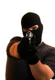Masked robber aiming handgun Stock Photography