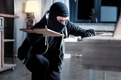 Masked robber searching what to steal. Theft. Dark-eyed serious masked burglar wearing a uniform and holding a folder while looking for something in the table Royalty Free Stock Photos