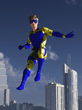 Masked superhero over the city Stock Images