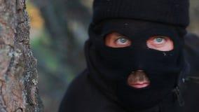 Masked terrorist stock video