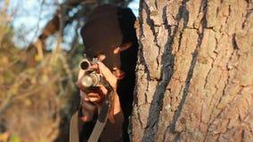 Masked terrorist stock video footage